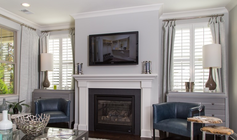Shutters next to fireplace