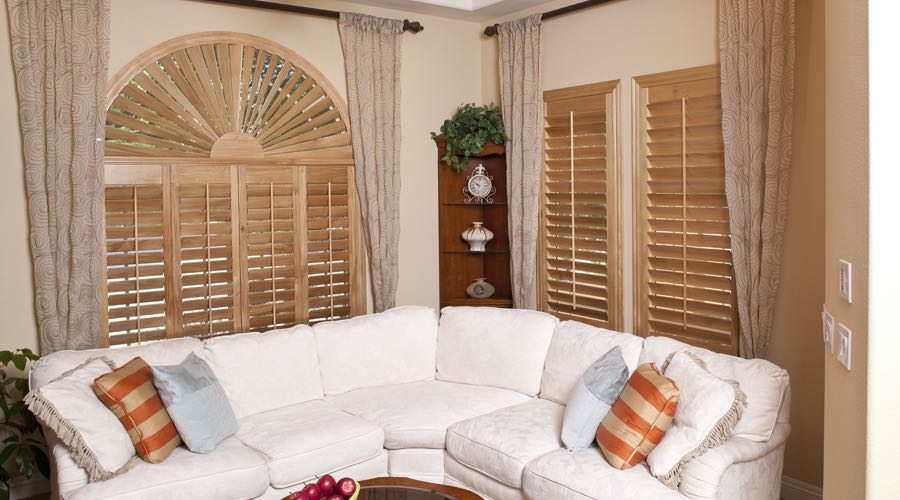 Sunburst Arch Ovation Wood Shutters In Denver Living Room