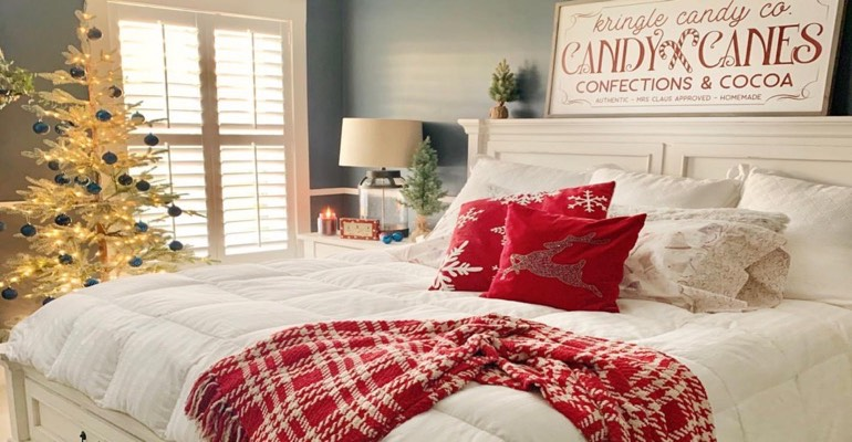 Bedroom with Christmas decor.