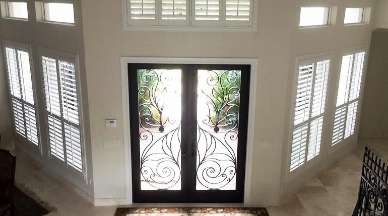 Denver foyer with glass doors and indoor shutters