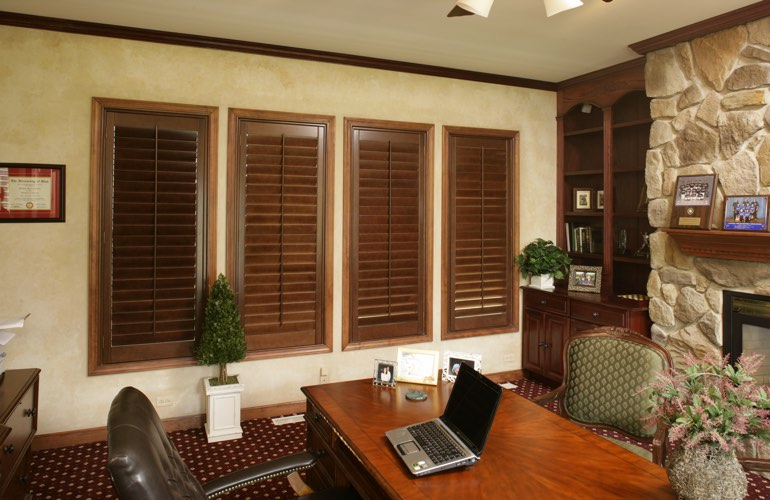 Hardwood plantation shutters in a Colorado Springs home office