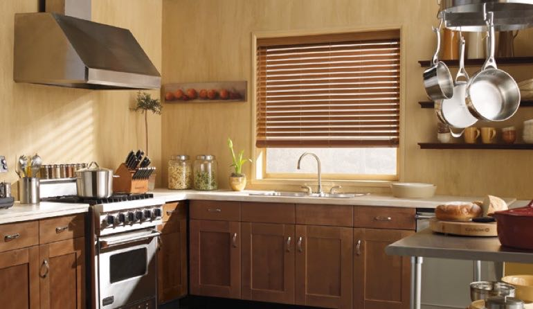 Colorado faux wood blinds kitchen