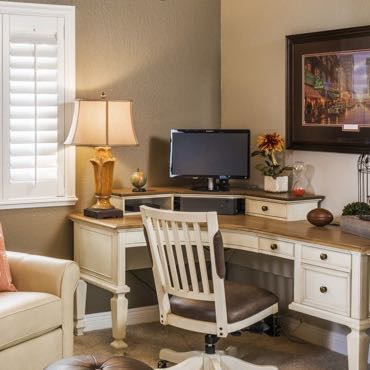 Colorado Springs home office plantation shutters.