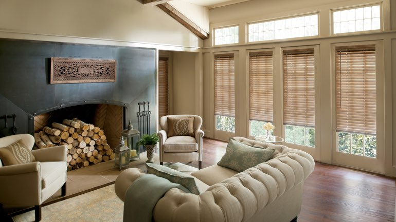 Denver living room with blinds