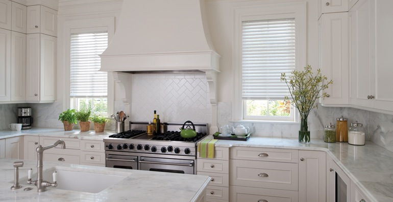 Colorado Springs white faux wood blinds