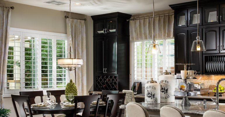 Colorado Springs kitchen dining room with plantation shutters.