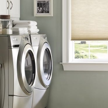 Colorado Springs laundry room pull-down shades.