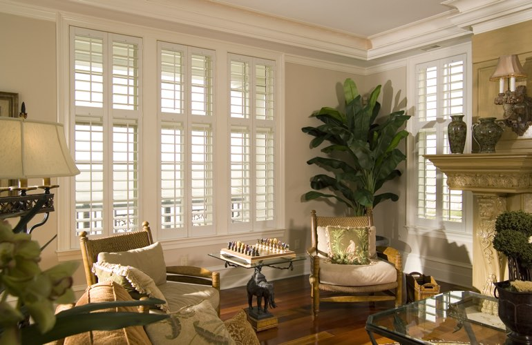 Living Room in Colorado Springs with interior plantation shutters.