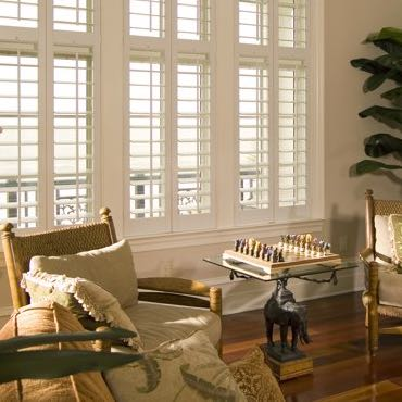 Denver living room interior shutters.