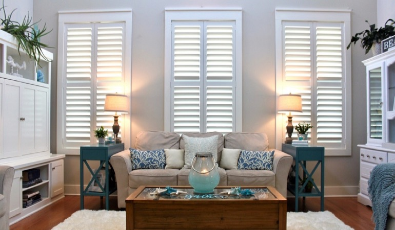 Colorado Springs modern sunroom with plantation shutters