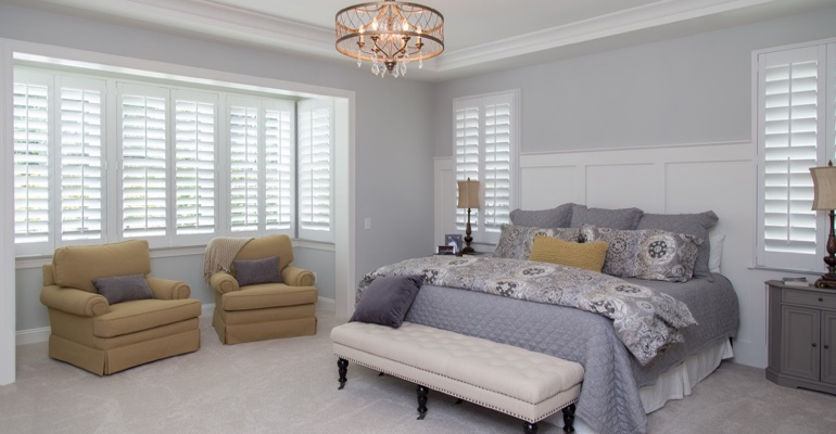 Denver bedroom faux wood shutters