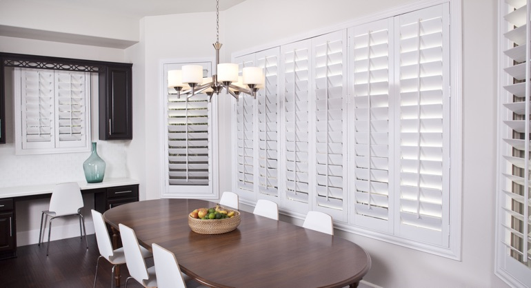 classic shutters in Colorado Springs dining room