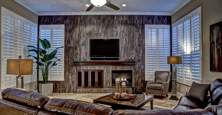Denver living room with shutters