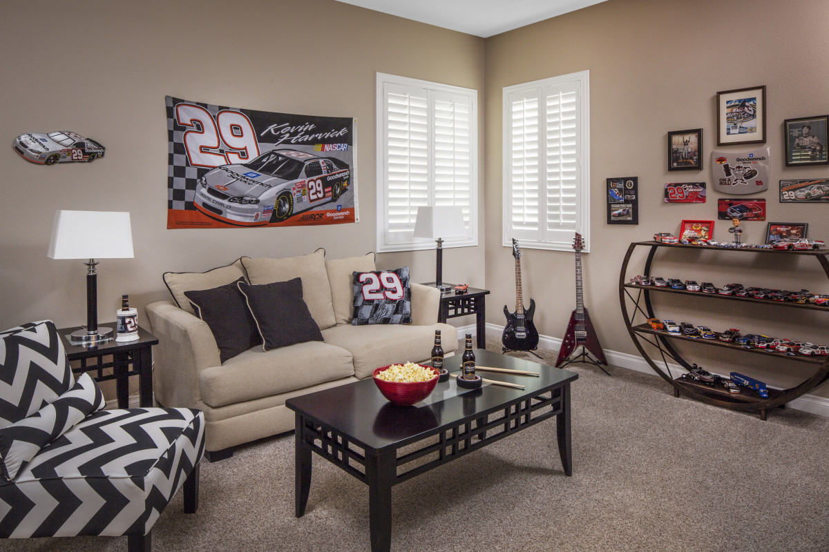Denver man cave with shutters