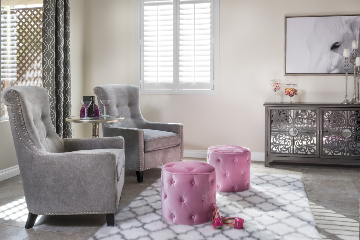 Denver pink living room with shutters
