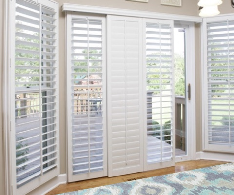 [Polywood|Plantation|Interior ]211] shutters on a sliding glass door in Denver