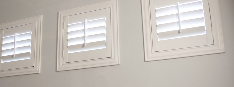 Square Windows in a Denver Garage with Plantation Shutters