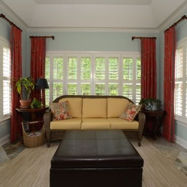 Denver sunroom plantation shutters.