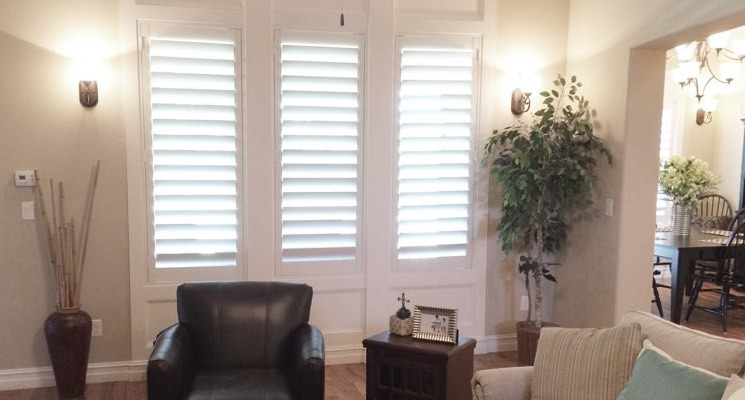 Denver family room white shutters