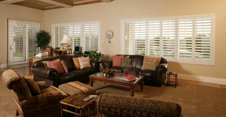 Denver family room with interior shutters.