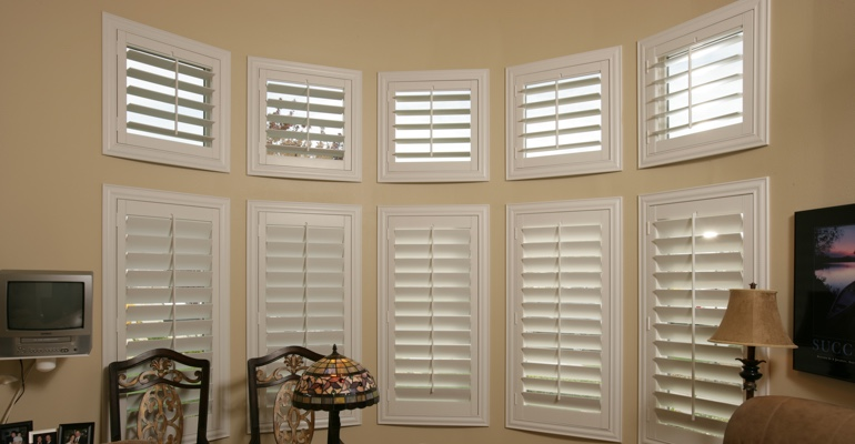 Bay window shutters Denver home office