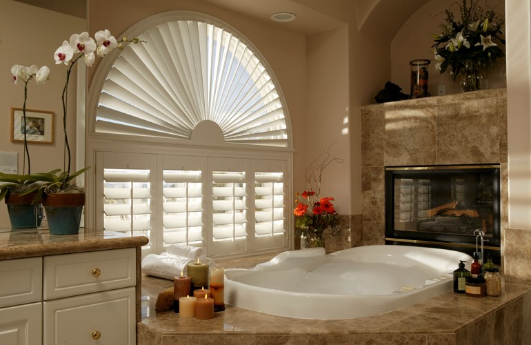 Our Experts Installed Shutters On A Sunburst Arch Window In Denver, Colorado