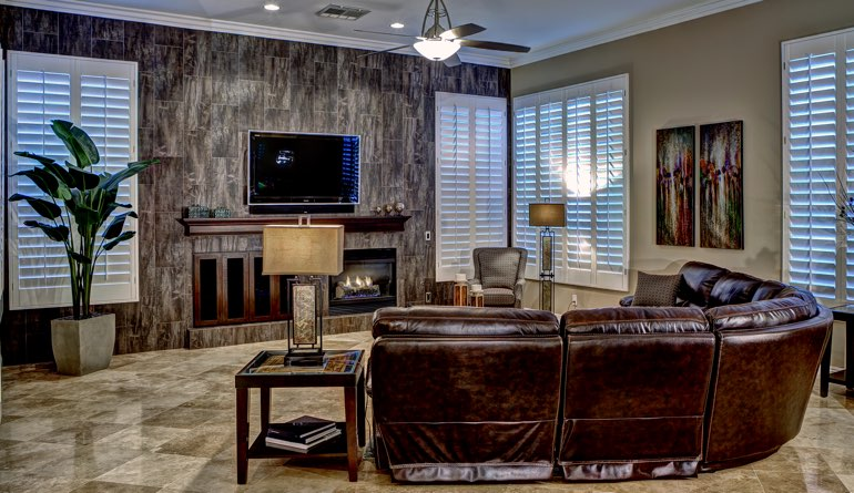 Plantation Shutters In A Colorado Springs Living Room.